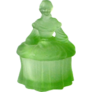 Frosted Green Depression Glass Southern Belle Powder Jar