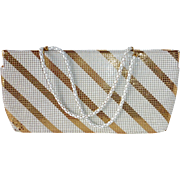 Whiting Davis White Enamel & Gold Metal Mesh Purse