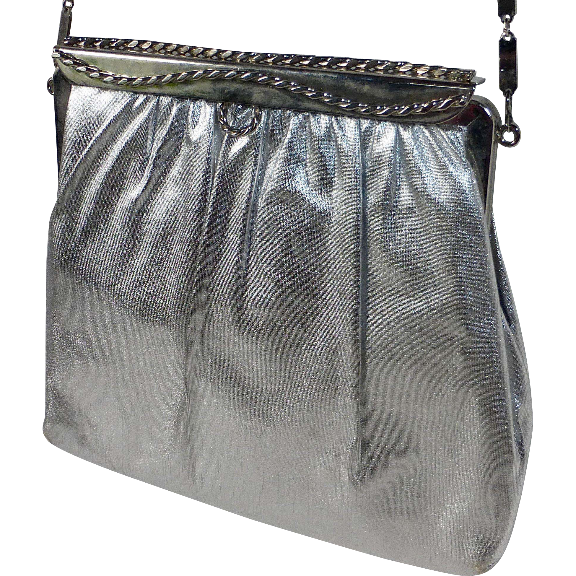 Bright Silver Fabric Purse Long Flat Chain Handle