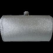 Silver Metallic Cloth Clutch Purse w Fold in Handle