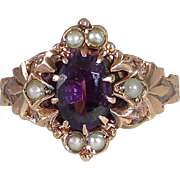 Victorian 10k Rose Gold Amethyst & Seed Pearl Ring