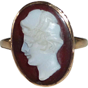 Victorian 10k Rose Gold Hardstone Cameo Pinky Ring