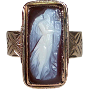Victorian 10k Rose Gold Cameo Ring Full Female Figure