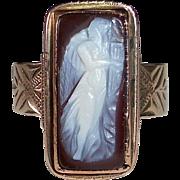 Victorian 10k Rose Gold Cameo Ring Full Female Figure