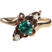 10k Victorian Rose Gold Ring Tsavorite Doublet Seed Pearls