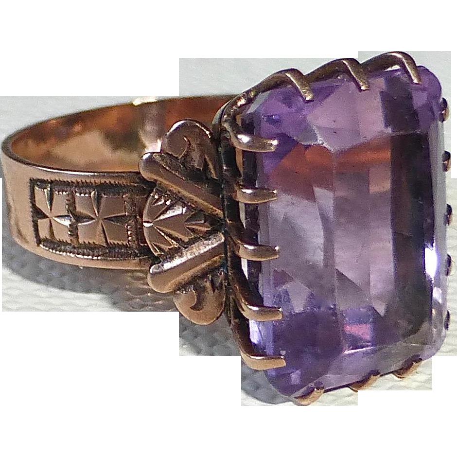 Antique Victorian 10k Rose Gold Amethyst Ring