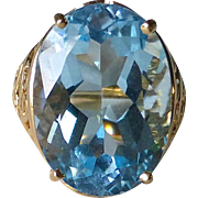 10k Yellow Gold Large Blue Topaz Ring