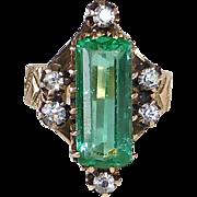 10k Rose Gold Ring Diamonds & Emerald Glass Jewel