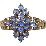 10k Iolite Layered Cluster Ring