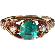 Victorian 10k Rose Gold Ring Faux Emerald
