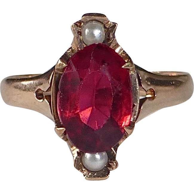 10k Rose Gold Victorian Ring Red Stone & Seed Pearls