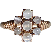 10k Rose Gold Victorian Ring w Moonstone Spheres