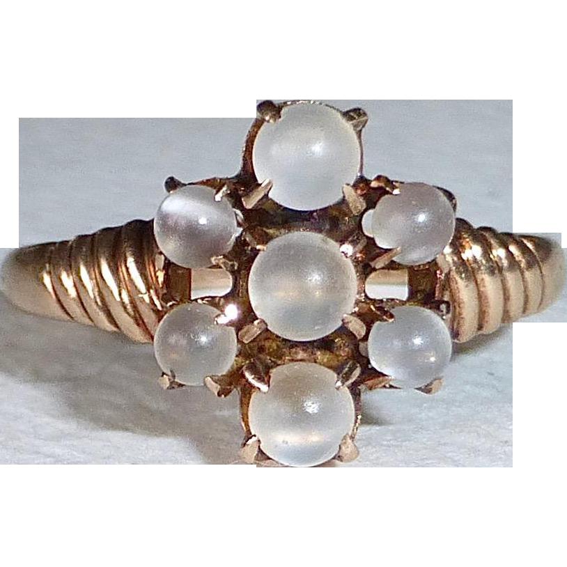 10k Rose Gold Victorian Ring w Moonstone Spheres