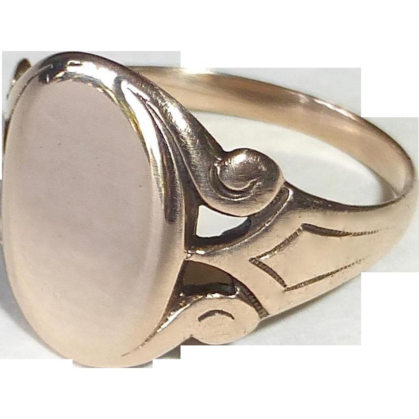 Antique Victorian 10k Rose Gold Signet Ring