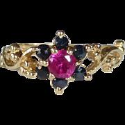 10k Ruby & Sapphire Rosette Ring