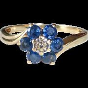 10k Sapphire Rosette Ring c1950s