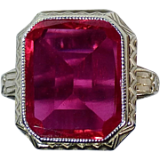 Art Deco 10k White Gold Ring w Synthetic Ruby