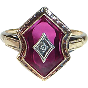 Art Deco 10k White Gold Ring Synthetic Ruby Shield with Diamond