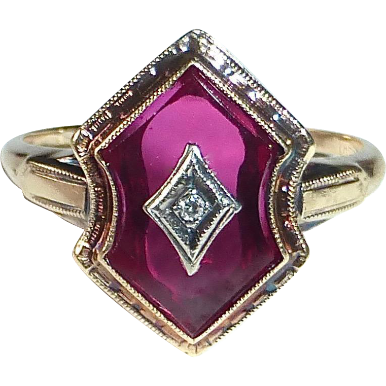 Art Deco 10k Synthetic Ruby with Diamond Shield Ring