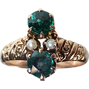 10k Victorian Rose Gold Ring Tsavorite Doublets & Seed Pearls