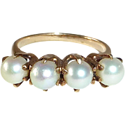Antique Victorian 14k Four Prong Set Pearl Ring