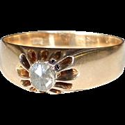 14k Early Victorian Belcher Set Mine Cut Diamond Ring