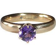 14k Amethyst Solitaire Ring
