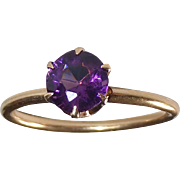 14k Mid Century Amethyst Solitaire Ring