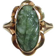 14k Yellow Gold Carved Jade Floral Design Ring