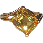 14k Emerald Cut Golden Chrysoberyl Ring