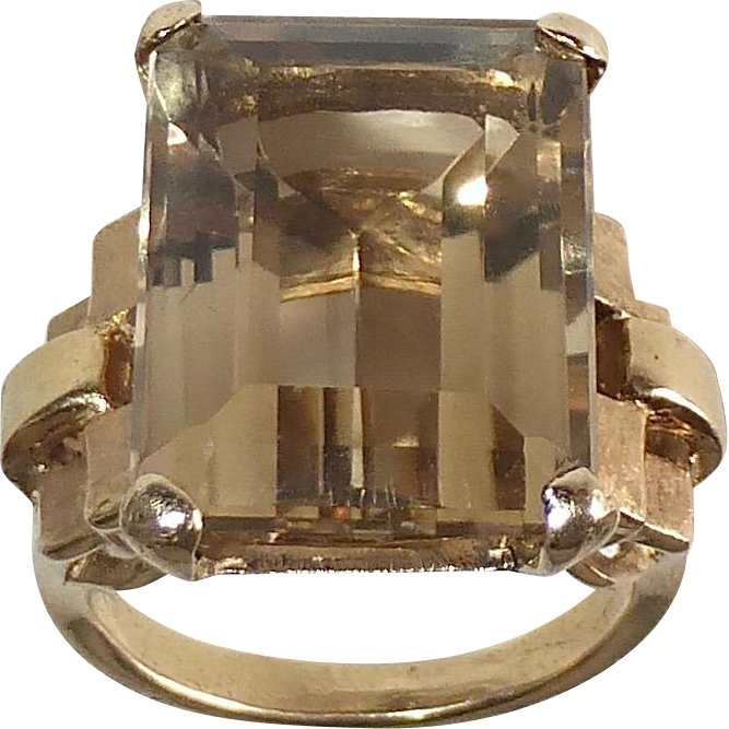 14k Large Citrine Dinner Ring Stepped Shank