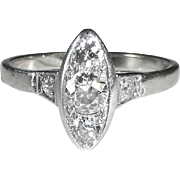 Art Deco 14k White Gold Ring Five Diamond Marquise Setting