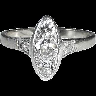 Art Deco 14k White Gold Ring Five Diamond Marquise Setting