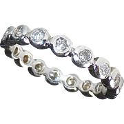 14k Eternity Band Ring Bezel Set Diamonds
