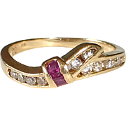 14k Diamond & Ruby Deco Revival Ring