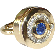 14k Modernist Diamond & Sapphire Cocktail Ring