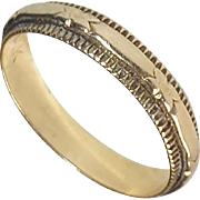 14k YG Art Deco Band Ring Embossed Design
