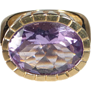 14k Sparkling Large Synthetic Amethyst Statement Ring