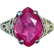 14k Art Deco White Gold Filigree Faux Ruby Ring