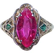 14k Art Deco White Gold Filigree Faux Ruby & Emerald Ring