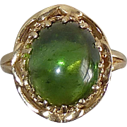 14k Gorgeous Green Tourmaline Cabochon Ring