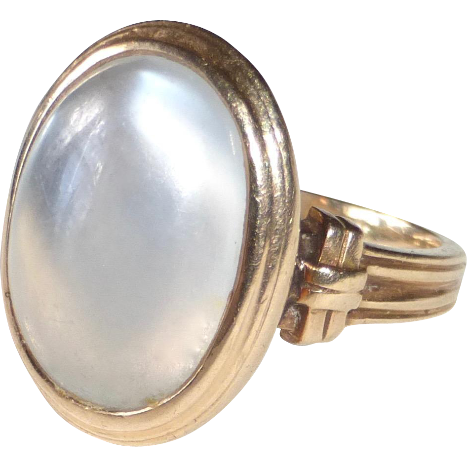 14k Blue-White Moonstone Ring