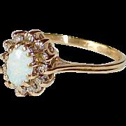 14k Opal Ring w Diamond Frame