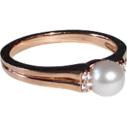 14k Rose Gold Cultured Pearl & Diamond Ring