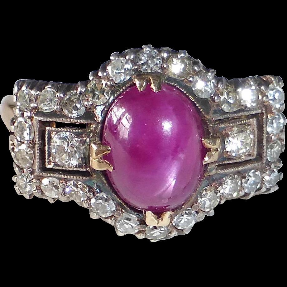 Art Deco 14k & Platinum Star Ruby & Diamond Ring