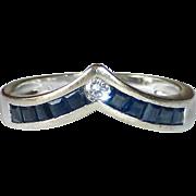 14k Sapphire & Diamond Band Ring