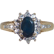 Classic 14k Sapphire & Diamond Ring c1960s