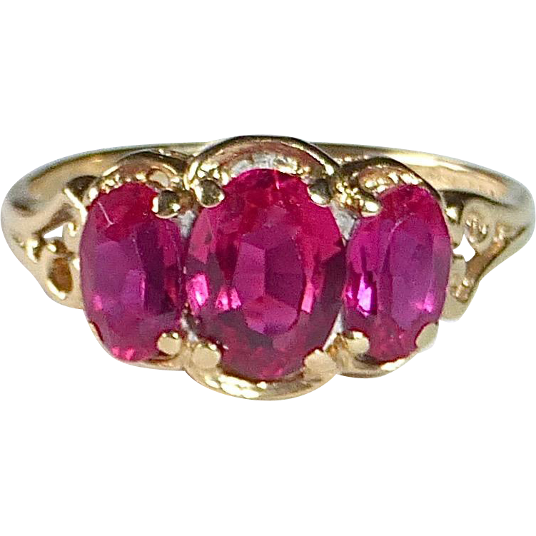 14k Lab Grown Triple Ruby Ring