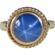 14k Synthetic Star Sapphire Ring