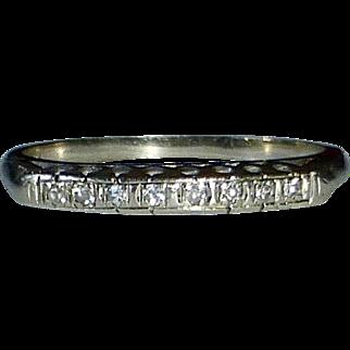 14k White Gold Diamond Wedding Band c1940s